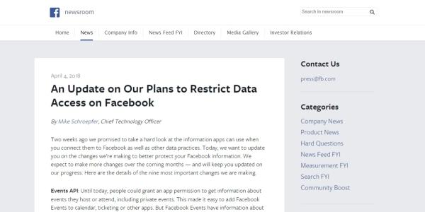 Planovi Facebooka za ograničenje pristupa korisničkim podacima
