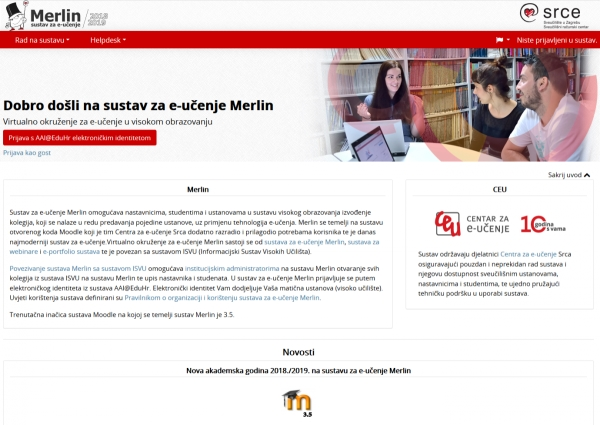 Merlin nadograđen na inačicu Moodle 3.5