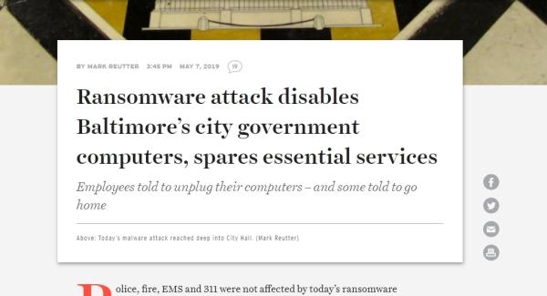 Baltimore pod udarom ransomware napada