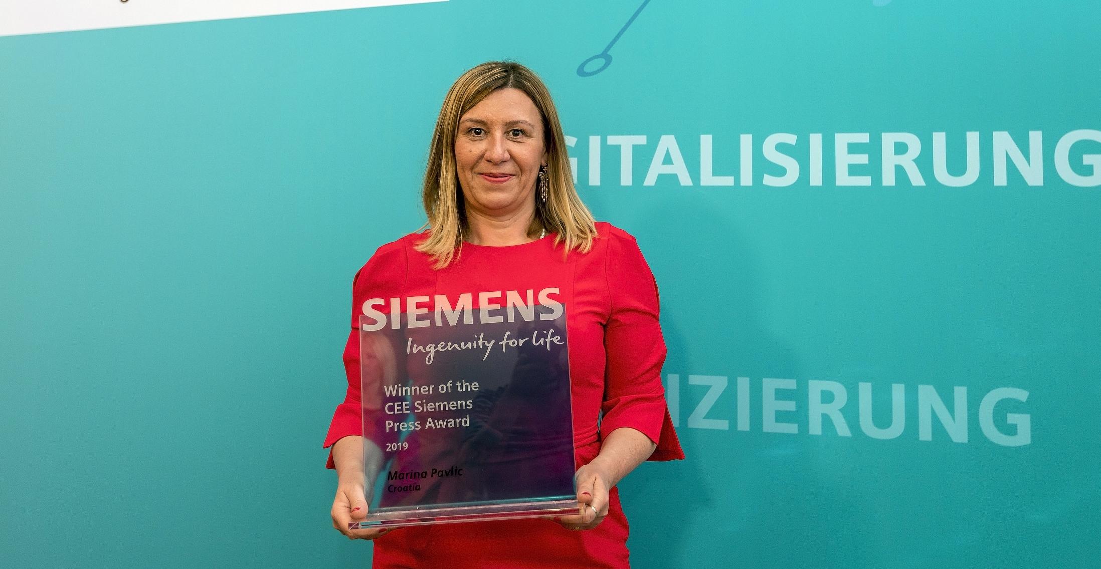 Još jedna nagrada: Siemens CEE Press Award za 2019.