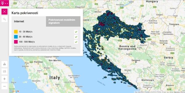 Interaktivna mapa HT-a s brzinama i pokrivenošću interneta