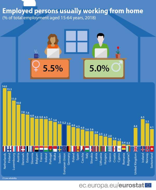 Eurostat: Koliko je uobičajeno raditi od doma?